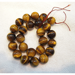 Round Tiger Eye Beads Strands, Grade AB+, Dark Goldenrod, 6mm, Hole: 1mm; about 60pcs/strand