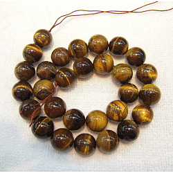 Natural Tiger Eye Beads Strands, Round, Grade AB+, 6mm, Hole: 1mm; about 60pcs/strand