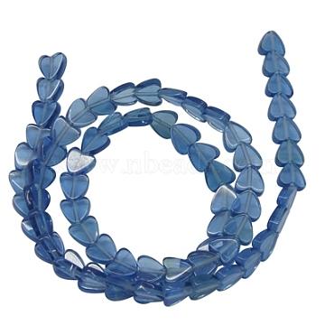 Glass Beads, Imitation Blue Quartz, Heart, SteelBlue, 6x3mm, Hole: 1mm; about 70 pcs/strand, 15.5inches(Z27JP011)