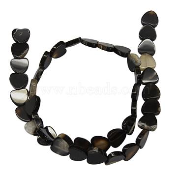 10mm Black Heart Black Agate Beads
