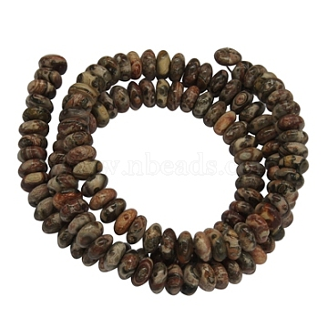 Gemstone Strands, Natural Leopard Skin Jasper, Rondelle, about 6mm in diameter, 3mm thick, hole: 1mm, 116 pcs/strand, 15.5inches(Z287Y011)