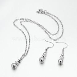 "304 gourde inoxydable pendentifs en acier et Pendants d'oreilles ensembles de bijoux, avec fermoir pince de homard, couleur inoxydable, 17.3"", 42 mm, pin: 0.6 mm(SJEW-N026-03)"
