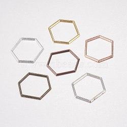 Anneaux connecteurs en alliage, hexagone, couleur mixte, 18x20x1mm(PALLOY-E446-06B)