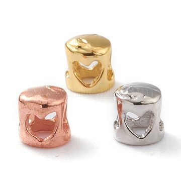 Hammered Brass Cord End Caps, Long-Lasting Plated, Column with Heart, Mixed Color, 4.5x4.5mm, Inner Diameter: 3mm(KK-A148-01)