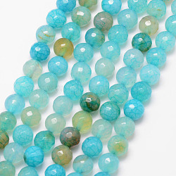 Natural Crackle Agate Bead Strands, Round, Grade A, Faceted, Dyed & Heated, Turquoise, 8mm, Hole: 1mm; about 47pcs/strand, 15inches