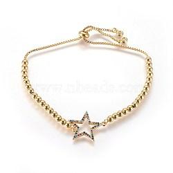 bracelets réglables en laiton à zircon cubique, bracelets bolo, avec des chaînes et des perles rondes, anneau, or, coloré, 10-1 / 4 (26 cm)(BJEW-L652-09G)