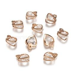 Iron Glass Charms, Heart, Light Gold, 13x10.5x6.5mm, Hole: 1mm