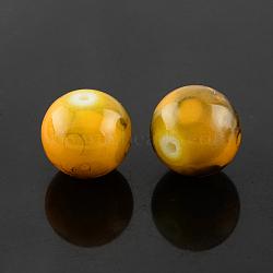 """Chapelets de perles en verre d'effilage, rond, verge d'or, 8 mm; trou: 1.3~1.6 mm; environ 100 pcs / brin, 31.4""""(X-GLAD-S075-8mm-36)"""