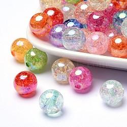 Perles en acrylique transparentes craquelées, couleur ab , rond, couleur mixte, 8mm, trou: 0.25 mm; 1800 pcs / 500 g(CACR-R011-8mm-M)