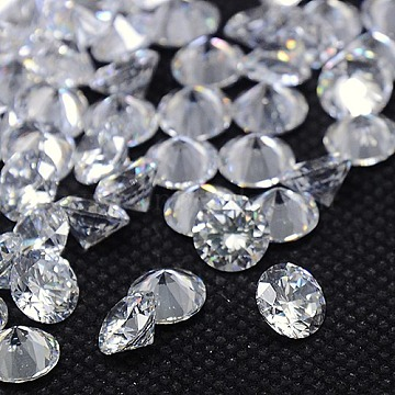 Cubic Zirconia Cabochons, Grade A, Faceted, Diamond, Clear, 3x2mm(ZIRC-M002-3mm-007)