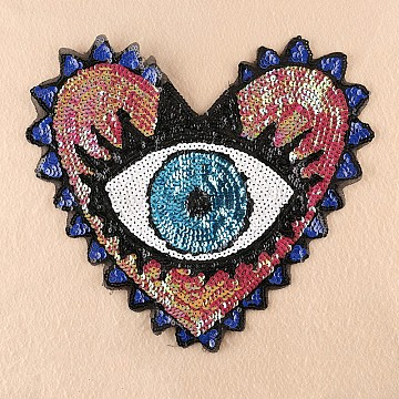 Computerized Embroidery Cloth Sew On Patches, Costume Accessories, Paillette Appliques, Heart with Eye, Deep Pink, 31x35cm(DIY-F030-01C)