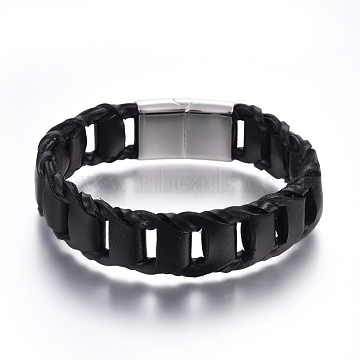 Leather Braided Cord Bracelets, with 304 Stainless Steel Magnetic Clasps, Black, Stainless Steel Color, 8-1/4inches(21cm); 18mm(BJEW-E352-14P)