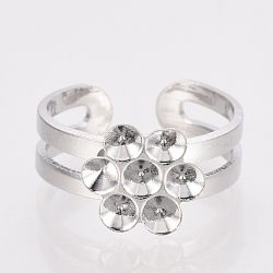 Adjustable Brass Finger Ring Rhinestone Settings Components, Platinum, Fit for 2.5mm Rhinestone; 14~15mm(X-KK-T025-44P)