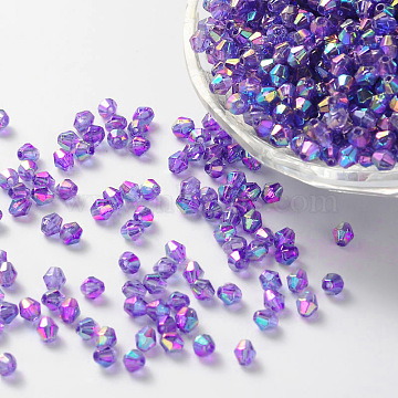 Environmental Bicone AB Color Plated Environmental Transparent Acrylic Beads, DarkOrchid, 6x6mm, Hole: 1mm(X-TACR-A003-6mm-21)