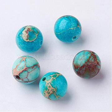 Round Natural Imperial Jasper Beads, Dyed, SkyBlue, 10mm, Hole: 1mm(X-G-I122-10mm-10)