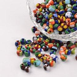 6/0 perles en verre de couleurs opaques, perles rondes de semences, couleur mixte, 3.5~4x2.5~3mm, trou: 0.5 mm; environ 600 PCs / sachet