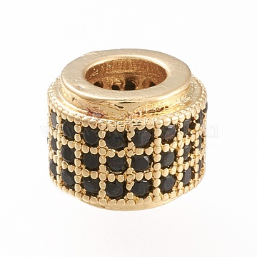 Golden Plated Brass Micro Pave Cubic Zirconia European Beads, Large Hole Beads, Long-Lasting Plated, Column, Black, 8.5x7.5mm, Hole: 4.5mm(OPDL-L019-A02)