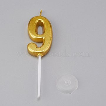 Paraffin Golden Candles, Number Shaped Smokeless Candles, Decorations for Wedding, Birthday Party, Num.9, 9: 100.5x24.5x6.5mm(DIY-K028-A-09)