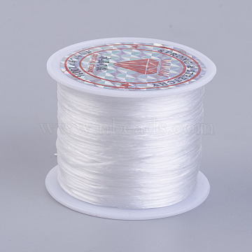 Flat Elastic Crystal String, Elastic Beading Thread, for Stretch Bracelet Making, White, 0.5mm, about 49.21 yards(45m)/roll(X-EW-P002-0.5mm-A34)