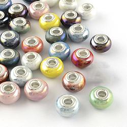 Perles européennes de porcelaine de couleur AB manuelles, avec des noyaux de laiton de ton argent, Perles avec un grand trou   , couleur mixte, 14~16x9~10mm, Trou: 5mm(X-PORC-R042-M3)