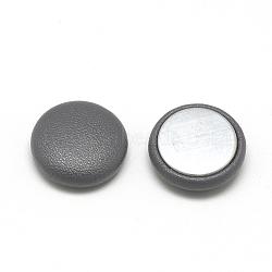 Cabochons recouverts de similicuir, avec fond en aluminium, demi-rond / dôme, grises , 15x5mm(X-WOVE-S084-06A)