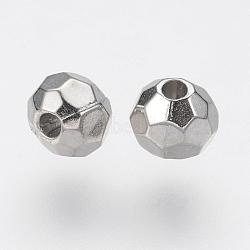 CCB perles en plastique, facette, rond, platine, 5mm, Trou: 1.5mm(CCB-J035-079P)