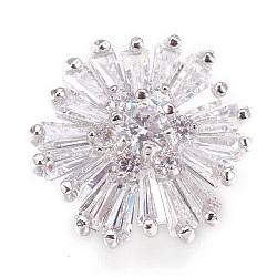 Crémaillère laiton micro-pavé de boutons de tige en zircone cubique, fleur, platine, 16x8mm, Trou: 1.2mm(KK-F752-06P)