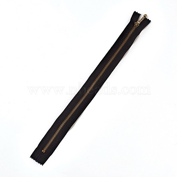 Garment Accessories, Nylon Closed-end Zipper, with Metal Zipper Puller, Zip-fastener Component, Antique Bronze, Black, 33.7x2.8~2.9x0.2mm(FIND-WH0028-03-C07)
