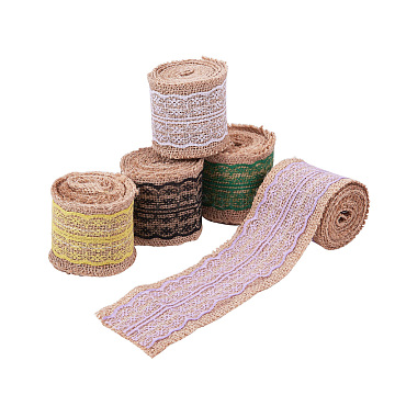 NBEADS Burlap Ribbon, Hessian Ribbon, Jute Ribbon, with Lace, for Jewelry Making, Mixed Color, 2-1/8 inches(55mm), about 2m/roll, 5rolls/set(OCOR-NB0001-12)