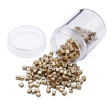 Plated Glass Seed Beads, Round Hole, Cube, Golden Plated, 3~7x3x3mm, Hole: 0.5mm, about 400pcs/box(SEED-JP0002-C01)