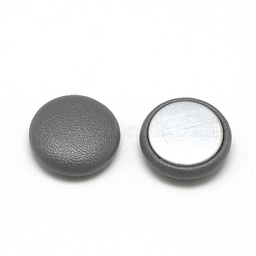 Imitation Leather Covered Cabochons, with Aluminum Bottom, Half Round/Dome, Gray, 15x5mm(X-WOVE-S084-06A)