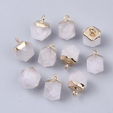 Golden Round Quartz Crystal Charms