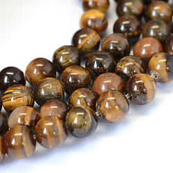 Grade AB Natural Tiger Eye Round Bead Strands, 6~6.5mm, Hole: 1mm; about 63pcs/strand, 15.5 inches