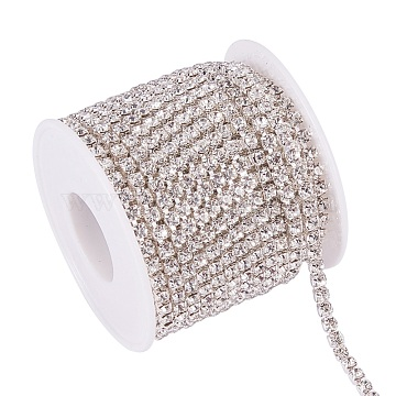 Brass Rhinestone Strass Chains, with Spool, Rhinestone Cup Chains, Silver Color Plated, Crystal, 3.5mm, about 10yards/roll(CHC-T001-SS16-01S)