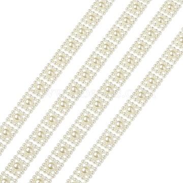 ABS Plastic Imitation Pearl Ribbon Trimming, Wedding Decoration Accessroies, Beige, 10x3.7mm; about 5m/bag(OCOR-TAC0003-01)