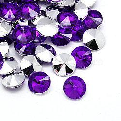Акриловые стразы - кабошоны , заостренный назад и граненый, алмаз, фиолетово-синие, 18x7 мм ; около 200 шт / мешок(GACR-A004-18mm-04)