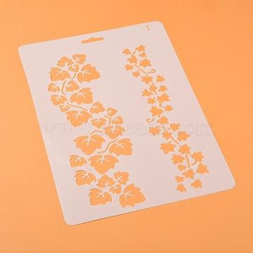 Plastic Drawing Painting Stencils Templates, Rectangle, Leaf Pattern, White, 25.5x17.4x0.04cm(DIY-F018-B01)