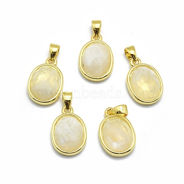 Golden Oval Moonstone Charms