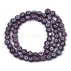 Chapelets de perles vernissées manuelles, plat rond, noir, 6x2.5mm, trou: 1mm; environ 64~65 pcs/chapelet, 14.1''~14.5''(LAMP-S191-02A-11)