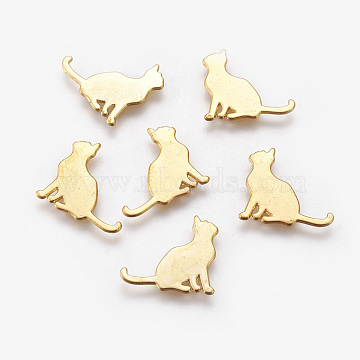 Alloy Kitten Cabochons, For DIY UV Resin, Epoxy Resin, Pressed Flower Jewelry, Cat Silhouette, Golden, 15x18x1mm(X-PALLOY-WH0051-01G-02)