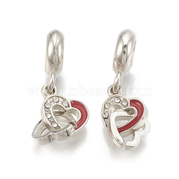 Alloy European Dangle Beads, with Rhinestone and Enamel, Large Hole Pendants, Heart, Red, Platinum, Crystal, 25mm, Hole: 5mm; 11x8.5x15mm and 7.5x8mm(X-MPDL-S066-055)