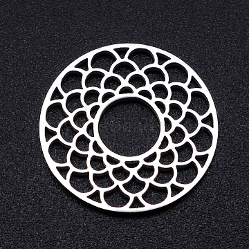 201 Stainless Steel Filigree Joiners Links, Laser Cut, Flat Round with Flower, Stainless Steel Color, 17.5x1mm(STAS-S105-JN918-1)