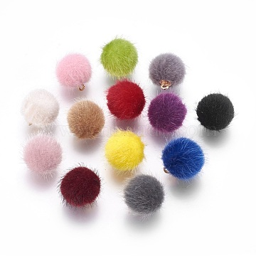 Handmade Plush Cloth Fabric Covered, with CCB Plastic Findings, Round, Golden, Mixed Color, 17x15mm, Hole: 1.5mm(X-FIND-P029-C)