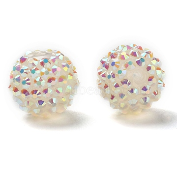 Resin Rhinestone Beads, DIY Material for Basketball Wives Earrings, Round, Clear, Size: about 18mm in diameter, hole: 2mm(X-RESI-A002-16)