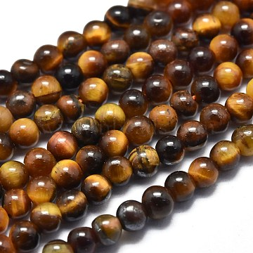 Natural Tiger Eye Beads Strands, Round, 3mm, Hole: 0.5mm; about 130pcs/Strand, 15.35 inches(39cm)(G-K305-09-A)