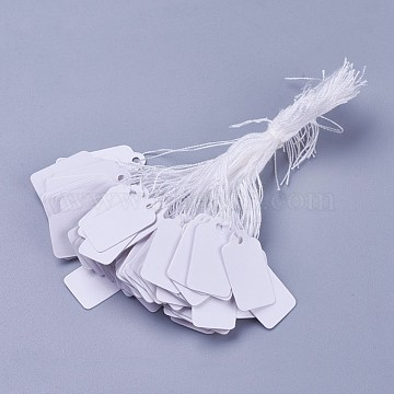 White Rectangle Jewelry Price Tags, Item Price Label with String Price Paper Display for Goods Tags, Rectangle, White, 23x13mm(X-TOOL-C003-02)
