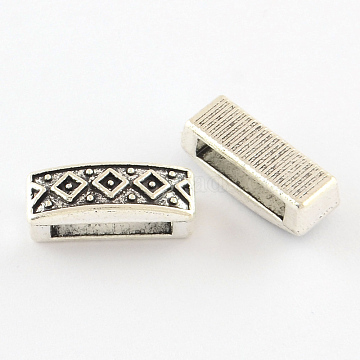 Tibetan Style Cuboid Alloy Slide Charms, Cadmium Free & Lead Free, Antique Silver, 6x15.5x6mm, Hole: 11x3mm(X-TIBEB-Q064-42AS-NR)
