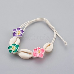 Cowrie Shell Anklets/Bracelets, with Polymer Clay 3D Flower Plumeria Beads and Chinese Waxed Cotton Cord, Colorful, 4-1/2inches(11.5cm)~10-1/4inches(26cm)(X-AJEW-AN00243)