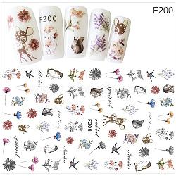 Stickers autocollants à ongles, pour la conception d'art d'ongle, fleurs et animaux modèle, colorées(MRMJ-G005-05F)