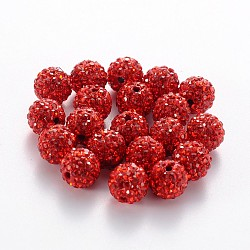 Grade A Rhinestone Beads, Pave Disco Ball Beads, Resin and China Clay, Round, Red, PP9(1.5.~1.6mm); 8mm, Hole: 1mm(RB-B025-27)